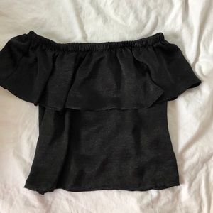 Urban Outfitters off the shoulder black silk shirt